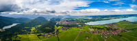 Panorama from the air sunset Forggensee and Schwangau, Germany, Bavaria