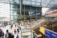 Inside the main entrance to Berlin Hauptbahnhof, the main Railway Station in Berlin. Germany