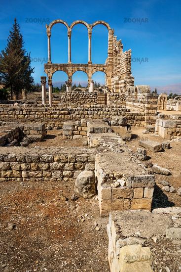 Arches at the ruins of Umayyad in Anjar vertical, Bekaa valley, Lebanon