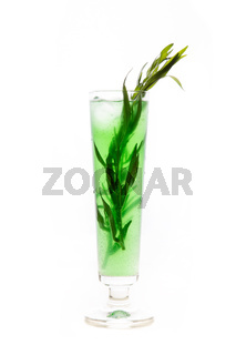 Green cocktail with leaves of tarragon herb in a transparent glass with water droplets. Healthy, homemade lemonade. Isolated on a white background. Cocktail decoration: mint, tarragon herb, ice cubes.