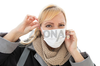 Young Adult Woman Wearing Face Mask Isolated on White Background