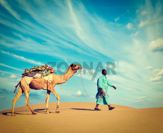 Cameleer (camel driver).  Rajasthan, India