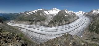 Unique Aletsch Glacier, longest Glacier in the Alps. UNESCO World Heritage Site.