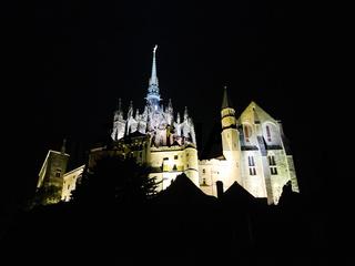 mont saint-michel abbey in night, Normandy
