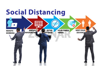 Concept of office social distancing during covid-19 pandemic