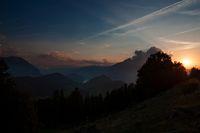 Sunset in the mountains near Luzernt. Mount Buergenstock