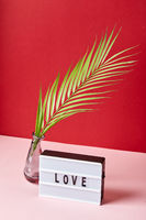 Love lightbox message with red hearts on pink and red background