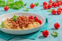 Pasta with tomato meat sauce. Italian cuisine.