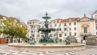 Rossio square and bronze fountain, Baixa, Lisbon, Portugal