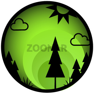 Forest Button Circle Icon