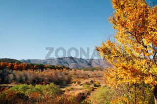 Tongdosa temple mountain panoramic view at autumn in Yangsan, Korea