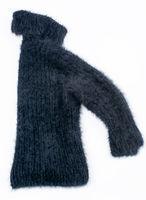 black angora sweater on white background