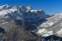 Scenic Dolomite landscape in winter, Alta Badia, Dolomites, South Tyrol, Italy