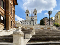 the Spanish Steps unusually empty during the day during the quarantine period due to the spread of t