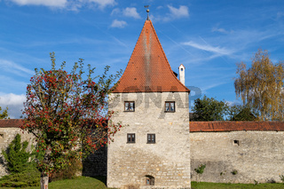 Autumn landscape with multicolored trees and city wall with tower in Berching, Bavaria