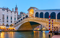 Rialto Bridge and Grand canal in Venice