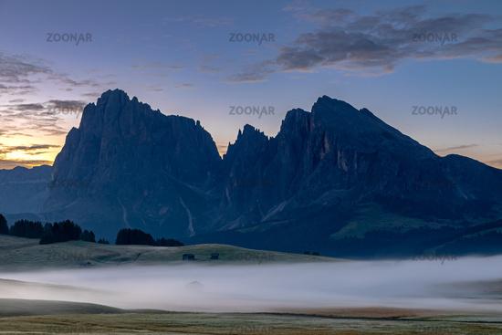 Daybreak on the Seiser Alm, Alpe di Siusi, South Tyrol