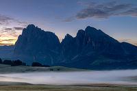 Daybreak on Seiser Alm, Alpe di Siusi, South Tyrol