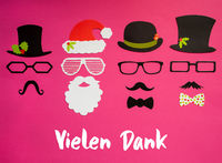 Santa Claus, Set Of Mask, Hat, Mustache, Pink Background, Danke Means Thank You