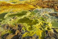 Acid brine pool with sulphuric sediments, geothermal field of Dallol,Afar Triangle, Ethiopia