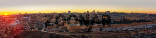 Overview of Old City in Jerusalem, Israel