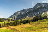 Pastureland on the Schwaegalp with Saentis massif, Canton St. Gallen, Switzerland