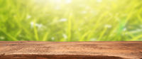 Empty wooden table with grass or meadow background, natural header or banner