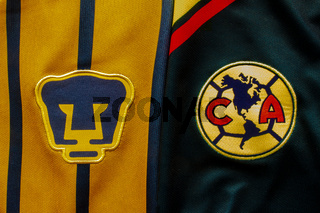Calgary, Alberta, Canada. July 10, 2020. Pumas UNAM vs Club America Football Soccer close up to their logo on a jersey.