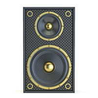 Single golden black speaker Front view 3D