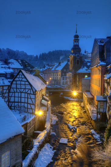 Winterly Monschau at night