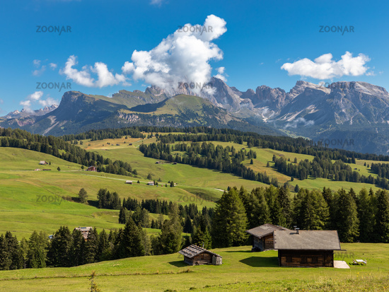 View over Seiser Alm, Alpe di Siusi, South Tyrol