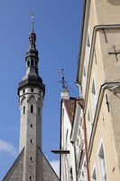 The tower of the Town hall of Tallinn and houses at market place of the Estonian capital