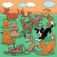 cartoon dogs and puppies comic characters group