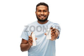 african american man with antiperspirant deodorant