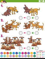 maths subtraction educational task with comic dogs