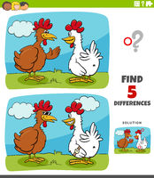 differences educational game for kids with two hens or chickens