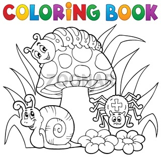 Coloring book toadstool with animals - picture illustration.