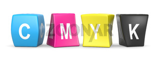 CMYK Colors Deformed Funny Cubes with CMYK Text 3D Illustration on White Background