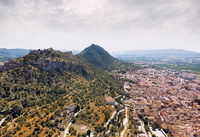 Aerial photography Xativa townscape. Spain