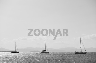 Three sail boat in the sea near Aegina island