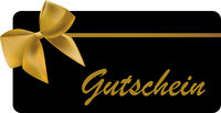 gift card with word Gutschein, German for voucher, with gold colored ribbon