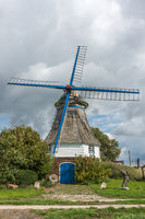 Historic Windmill in Rural Landscape in North Frisia, Schleswig-Holstein, Germany