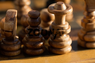 Wooden chessboard on table