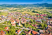 Aerial view of green landscape of Zagorje in town of Varazdinske Toplice