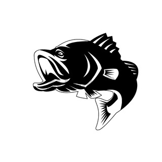 Barramundi or Largemouth Bass Fish Jumping Black and White Retro