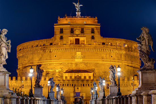 The Castel Sant Angelo and the Sant Angelo bridge in Rome at night