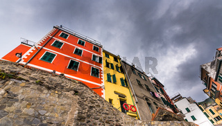 Village of Manarola with colourful houses at CinqueTerre, Liguria, Italy