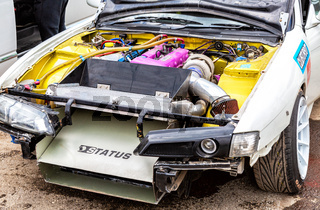 Tuned turbo car engine Nissan in vehicle
