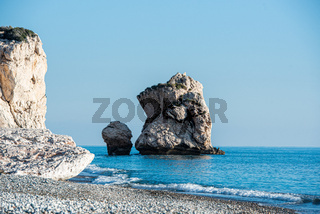 Seascape of the Rock of Aphrodite coast, at Paphos in Cyprus