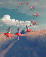 Surreal collage Of Woman in red Dress flying In Air Over Field. Dreamy woman flying in gold Fibonacci spyral towards the sky